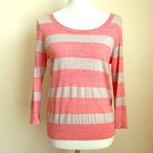 LOFT Scoop Neck Coral/Beige Striped Sweater